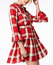 Tommy Hilfiger Plaid Ruffled Fit & Flare Dress