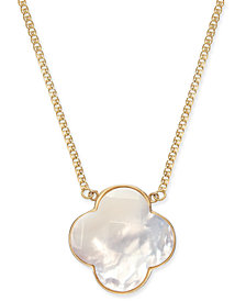 "Mother-of-Pearl Clover 16"" Pendant Necklace in 14k Gold"