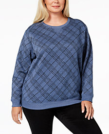 Karen Scott Plus Size Printed Crew-Neck Sweatshirt, Created for Macy's