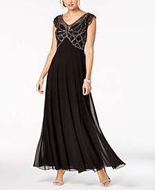 Embellished Cap-Sleeve Gown