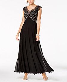 J Kara Embellished Cap-Sleeve Gown