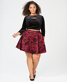 City Studios Plus Size Two-Piece Flared-Skirt Set