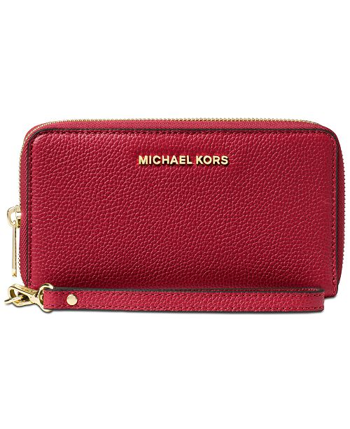 31cd7f4706bb Michael Kors Mercer Pebble Leather Multi Function Phone Case ...