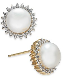 Cultured Freshwater Button Pearl (8-1/2mm) & Diamond (3/8 ct. t.w.) Stud Earrings in 14k Gold