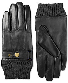 Isotoner Men's Leather Snap-Cuff Driving Gloves