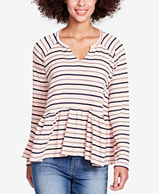 WILLIAM RAST Gryphon Striped Peplum Top