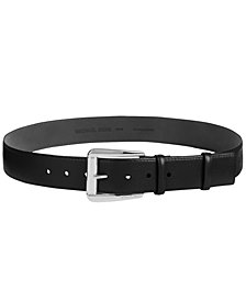 MICHAEL Michael Kors Statement-Buckle Pebble Leather Belt