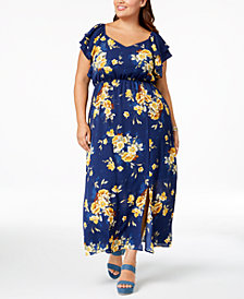 Monteau Trendy Plus Size Floral-Print Maxi Dress