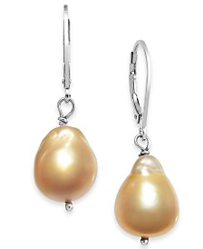 Cultured Baroque Golden South Sea Pearl (10-13mm) Drop Earrings in Sterling Silver