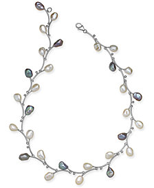 "White & Pink Keshi Freshwater Pearl (7-1/2mm) Vine 17-1/2"" Collar Necklace in Sterling Silver"