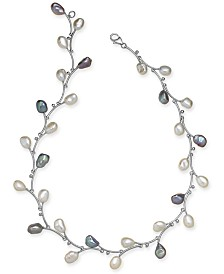 """White & Pink Keshi Freshwater Pearl (7-1/2mm) Vine 17-1/2"""" Collar Necklace in Sterling Silver"""
