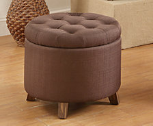 Fabric Round Ottoman, Chocolate