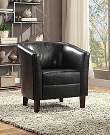 Faux Leather Club Chair, Black