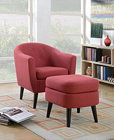 Chair + Cocktail Ottoman, Red