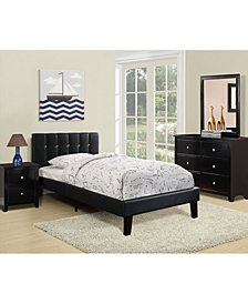 Twin Bed with Black Faux Leather Frame