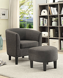 Accent Chair + Ottoman, Ash Black