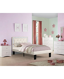 Twin Bed with Light Bone Faux Leather Frame