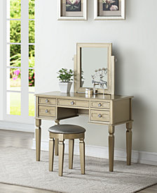 Vanity Set with Stool, Champagne