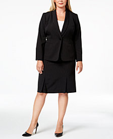 Kasper Plus Size Pinstriped Blazer & Skirt
