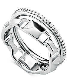 Michael Kors Women's Mercer Link Double Row Sterling Silver Ring