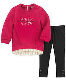 Calvin Klein Little Girls 2-Pc. Quilted Tunic & Leggings Set
