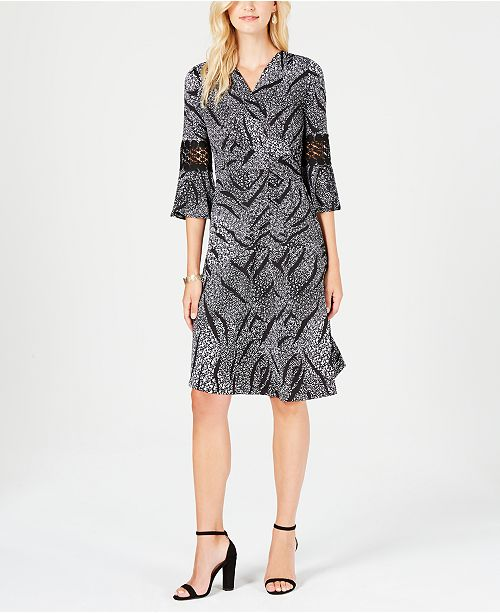 Huellas Black Printed Crochet with NY Collection Trim Wrap Faux Petite Dress xAvEzqZ
