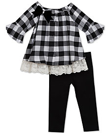 Rare Editions Baby Girls 2-Pc. Check-Print Tunic & Leggings Set
