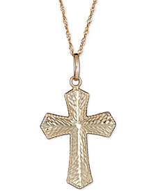 "Textured Cross 18"" Pendant Necklace in 14k Gold"
