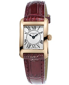 Frederique Constant Women's Swiss Carree Red Patent Leather Strap Watch 23x21mm