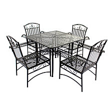 Courtyard Casual Steel French Quarter Outdoor 5 pc Dining Group