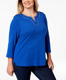 Karen Scott Plus Size Cotton Grommet-Trim Top, Created for Macy's