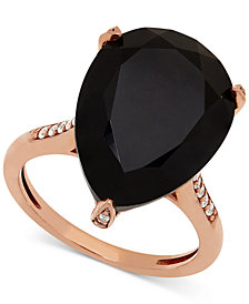 Onyx (18 x 13mm) & Diamond (1/10 ct. t.w.) Ring in 14k Rose Gold-Plated Sterling Silver