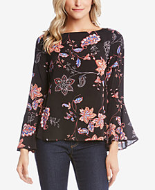 Karen Kane Printed Bell-Sleeve Top