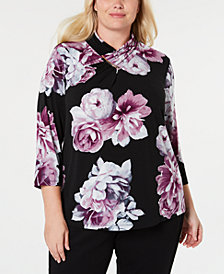 Calvin Klein Plus Size Floral-Print High-Neck Top