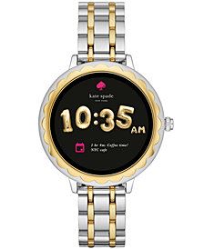 kate spade new york womens scallop two tone stainless steel bracelet touchscreen smart watch 41mm