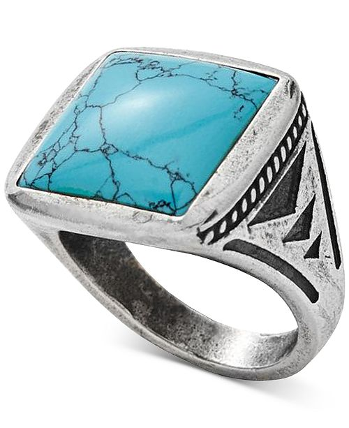 DEGS & SAL Men's Manufactured Turquoise Ring in Sterling Silver