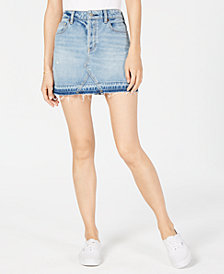 Kendall + Kylie Button-Fly Released-Hem Denim Skirt