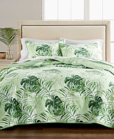 Martha Stewart Collection Palm Fronds 100% Cotton Quilt and Sham Collection, Created for Macy's