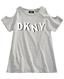 DKNY Big Girls Cold Shoulder Logo-Print T-Shirt