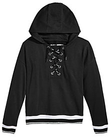DKNY Big Girls Lace-Up Fleece Sweatshirt