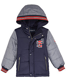London Fog Little Boys Hooded Varsity Puffer Jacket
