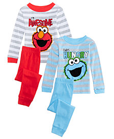 Sesame Street Toddler Boys 4-Pc. Elmo & Cookie Monster  Cotton Pajama Set