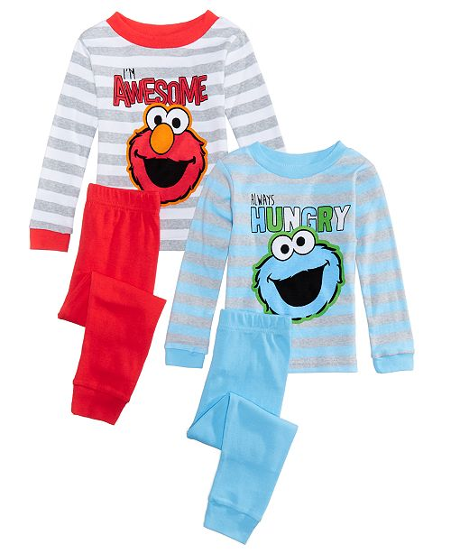 7a974a937 Sesame Street Toddler Boys 4-Pc. Elmo & Cookie Monster Cotton Pajama Set