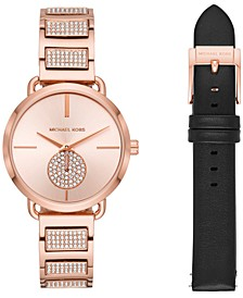 Women's Portia Rose Gold-Tone Stainless Steel Bracelet Watch 36mm Gift Set
