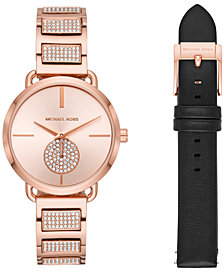 Michael Kors Women's Portia Rose Gold-Tone Stainless Steel Bracelet Watch 36mm Gift Set