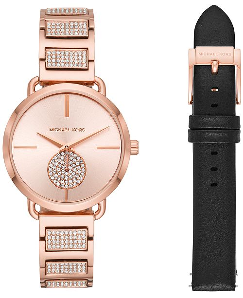 dd282fa7ce4c ... Michael Kors Women s Portia Rose Gold-Tone Stainless Steel Bracelet Watch  36mm Gift ...