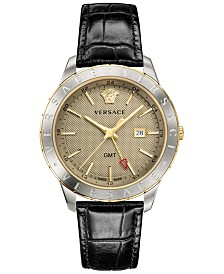 Versace Men's Swiss Business Slim Black Leather Strap Watch 43mm