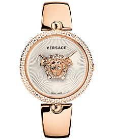 Versace Women's Swiss Palazzo Empire Rose Gold-Tone Stainless Steel Semi-Bangle Bracelet Watch 39mm