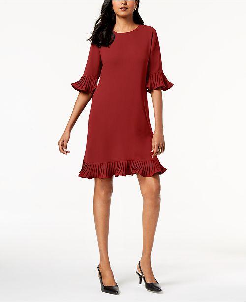 Alfani Plus Size Pleated Flounce Dress Created For Macys Dresses