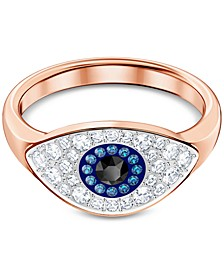 Rose Gold-Tone Crystal Evil Eye Ring